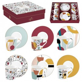 COFFRET 6 TASSES A CAFE 10CL EN PORCELAINE MODERNISM