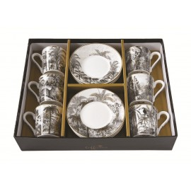 COFFRET 6 TASSES A CAFE 10CL RETRO JUNGLE
