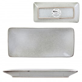 PLAT RECTANGLE EN GRES 10X22CM GRIS