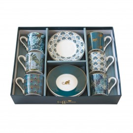 COFFRET 6 TASSES A CAFE EN PORCELAINE COFFEE MANIA JUNGLE