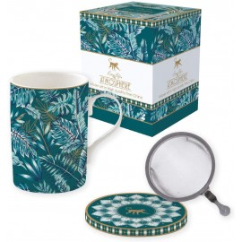 COFFRET TISANIERE EN PORCELAINE AVEC FILTRE INOX  ATMOSPHERE JUNGLE